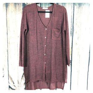 Lush Tunic Oversize Sweater Heathered Red Large